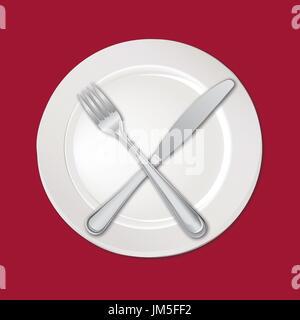 Tabelle einrichten. Gabel, Messer, leeren Teller. Besteck white Collection. - Stockfoto