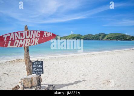 Tanjung Aan Beach, Kuta, Lombok. Eines der schönsten Strände auf der Insel Lombok, Indonesien. - Stockfoto