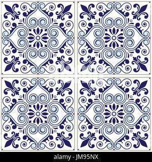 Portugiesische Fliesen Muster - Azulejo Marineblau Design, nahtlose Vektor blauen Hintergrund, Vintage Mosaiken - Stockfoto