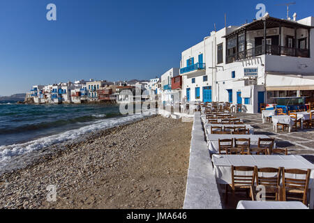 Klein-Venedig auf der Insel Mykonos, Kykladen, Griechenland - Stockfoto