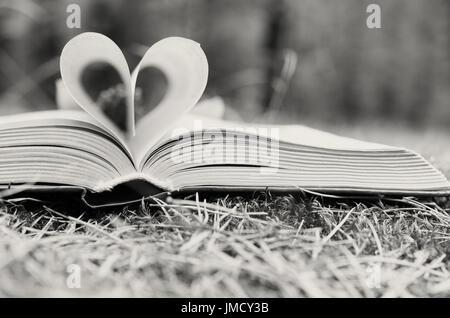 Die Seiten des geöffneten Buches werden in Form eines Herzens gestapelt. - Stockfoto