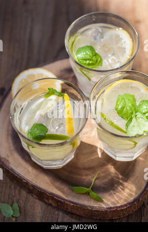 erfrischende Limonade trinken mit Minze Limette Zitrone im Garten - Stockfoto