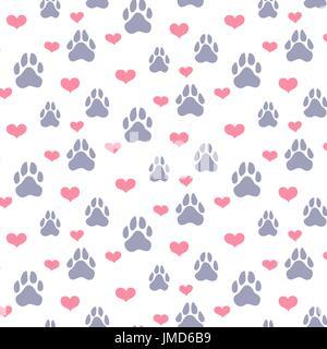 Haustier Thema Hintergrund vector Pattern mit Hunden Pfotenabdrücke und Herzen - Stockfoto