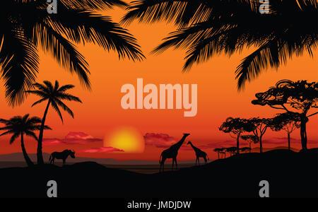 Afrikanische Landschaft mit tierischen Silhouette. Savanna Sonnenuntergang Hintergrund. - Stockfoto