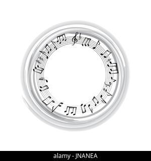 Noten Grenze. musikalischen Hintergrund. Musik, Stil, runde Form Rahmen mit Platz für Text kopieren. violinschlüssel - Stockfoto