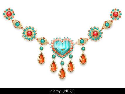 Halskette im orientalischen Stil mit Türkis Herz, geschmückt mit Türkis und Jasper auf weißem Hintergrund. Schmuck - Stockfoto