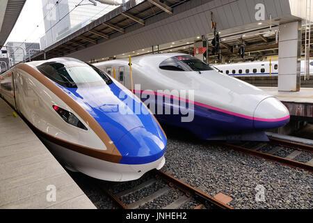 Tokyo, Japan - 2. Januar 2016. Kugel (High-Speed- oder Shinkansen) Züge an der Tokio Station in Tokio, Japan. - Stockfoto