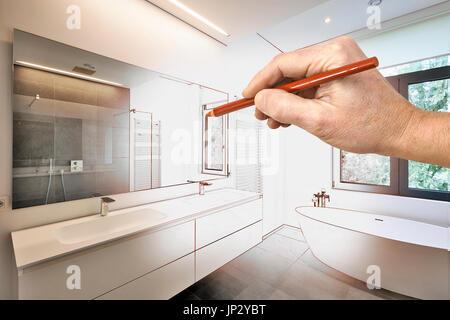 ... Zeichnung Sanierung Ein Modernes Luxus Bad, Badewanne In Corian,  Wasserhahn Und Dusche Im