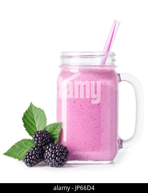 BlackBerry-Smoothie im Einmachglas - Stockfoto