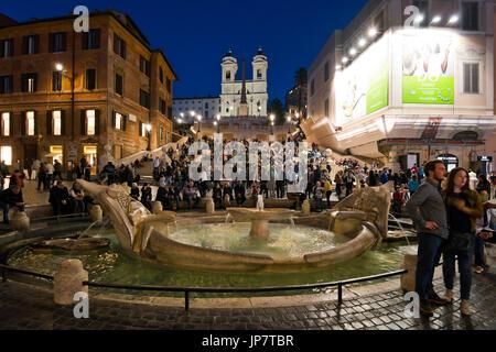 Horizontale, vertikale Ansicht von der spanischen Treppe in Rom. - Stockfoto