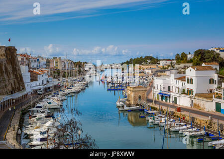 Spanien Balearen Insel Menorca, Ciutadella Stadt Ciutadella Hafen - Stockfoto