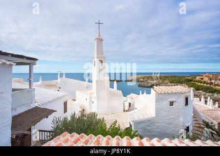 Spanien Balearen Insel Menorca, alte Fischerdorf Binibeca - Stockfoto