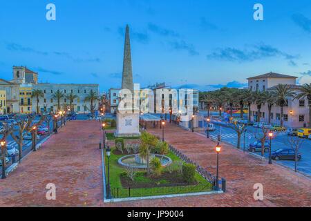 Spanien, Balearen Insel Menorca, Ciutadella Stadt geboren Square - Stockfoto