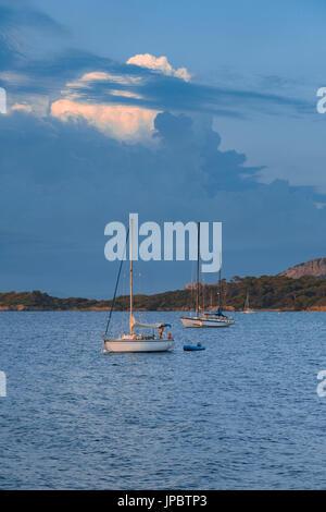 Segelboote während des Sonnenuntergangs festmachen (Var, Toulon, Hyeres, Ile de Porquerolles Abteilung, Region Provence - Stockfoto