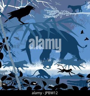 Bearbeitbares Vektor-Illustration der verschiedenen asiatischen Tierwelt im natürlichen Lebensraum - Stockfoto