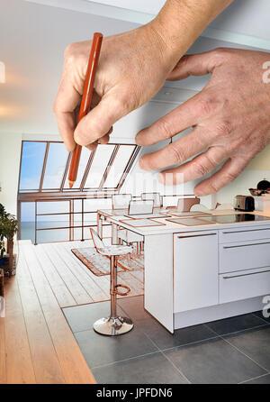 Renovierung Einer Modernen Offenen Kuche Zeichnen In Renovierten