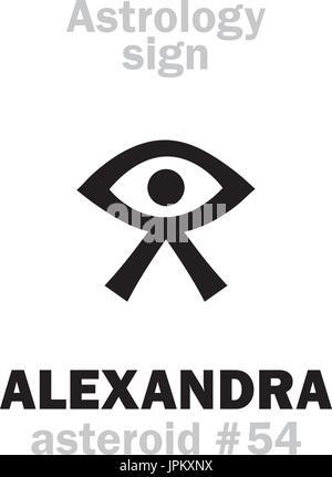 Astrologie-Alphabet: ALEXANDRA, Asteroid #54. Hieroglyphen Charakter Zeichen (einzelnes Symbol). - Stockfoto