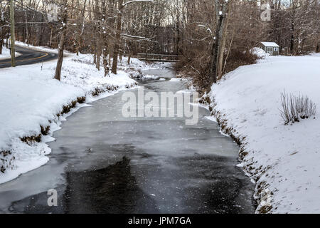 Winter-Streams in Danbury CT - Stockfoto