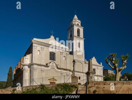 San Giovanni Evangelista Kirche, 16. Jahrhundert, im Hang Dorf von Santo-Pietro-di-Tenda, Nebbio Region, Haute-Corse, - Stockfoto