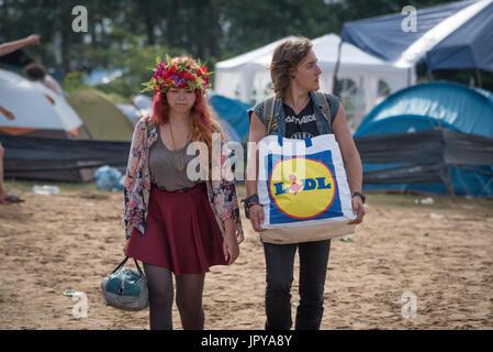 Kostrzyn nach Odra, Polen. 3. August 2017. Heute ist der erste Tag eines der größten Musikfestivals in Europa. Nach - Stockfoto
