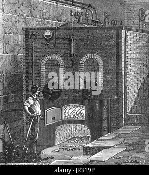 Ofen für den Wasserboiler für die Dampfmaschine \