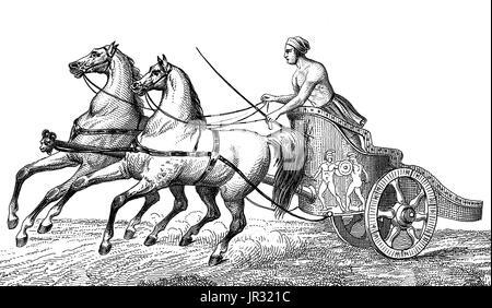 Antike Olympische Spiele, Two-Horse Wagenrennen - Stockfoto