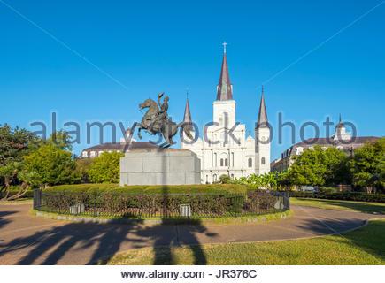 USA, Louisiana, New Orleans, French Quarter. Saint-Louis-Kathedrale am Jackson Square. - Stockfoto