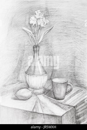 Bleistiftzeichnung Von Blumen In Einer Glasvase Graustufen Auf