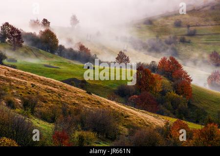 Dichter Nebel auf hügeligen ländlichen Felder im Herbst. überwältigende Landschaft Wetter bei Sonnenaufgang - Stockfoto