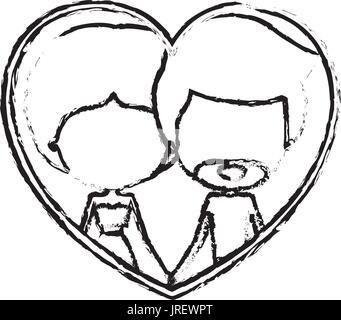 verschwommene Silhouette Herzform mit Karikatur gesichtslosen paar Mann und Frau gesammelt Frisur im Inneren Hand - Stockfoto