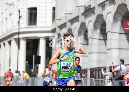 Stratford, London, UK. 6. August 2017. Leichtathletik-WM IAAF WM-Marathon Sonntag August. Läufer aus allen Teilen - Stockfoto