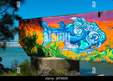 Bunte graffiti auf Bahn bringt Park Strand finden, Coffs Harbour, New South Wales, Australien. - Stockfoto