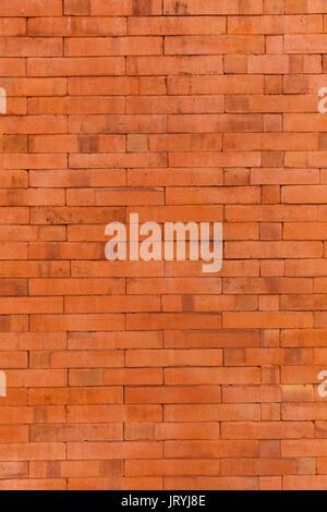 Hintergrund für Design: Mauer, Mauerwerk, Mauerwerk aus rotem Backstein - nah an der Natur Tag Licht - Stockfoto