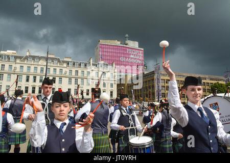 George Square, Glasgow, Schottland, Großbritannien. 7. Aug, 20017. Rohrleitungen Live! - Der Glasgow International - Stockfoto