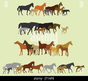 illustration der pferde silhouetten auf sonnenuntergang hintergrund ausgef hrt stockfoto bild. Black Bedroom Furniture Sets. Home Design Ideas