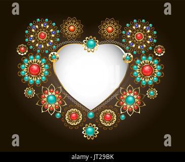 Ethnischen Rahmen in Form eines Herzens, dekoriert mit Türkis und Jasper auf einem dunklen Hintergrund. Schmuck - Stockfoto