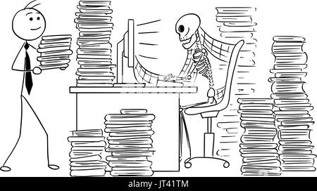 Cartoon-Vektor-Illustration von vergessenen menschlichen Skelett tot Geschäftsmann oder Angestellter mit Dateien - Stockfoto