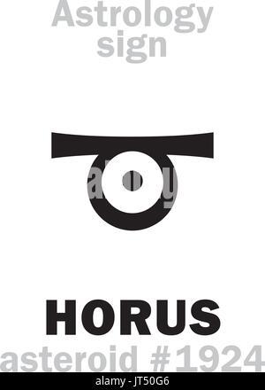 Astrologie-Alphabet: Auge des HORUS, Asteroid #1924. Hieroglyphen Charakter Zeichen (einzelnes Symbol). - Stockfoto