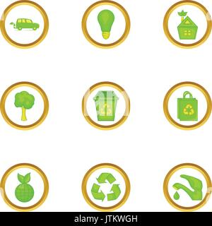 Grüne Dinge, Symbole, Cartoon Stil - Stockfoto