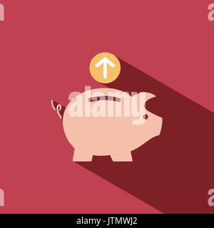 Piggy Bank Symbol auf rotem Hintergrund - Stockfoto