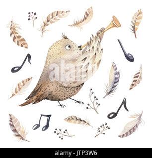 Aquarell Eule Natur Handgezeichnete Abbildung Hand Gezeichnet Maus Und Vogel Tanzen Tiere Boho Kinderzimmer Dekoration Illustrationen