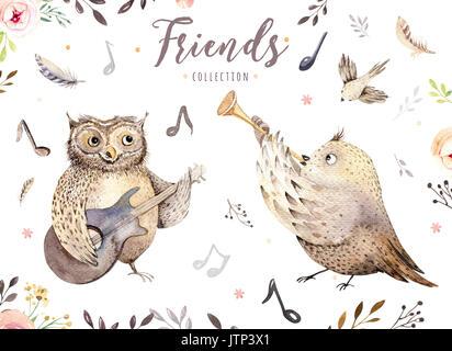 Hand Aquarell Eule Und Vogel Musik Tier Gezeichnet Boho Kinderzimmer Dekoration Abbildung Musikalische Trendy