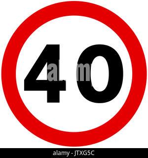 40 km/h maximale Geschwindigkeit Schild auf weißem Hintergrund - Stockfoto