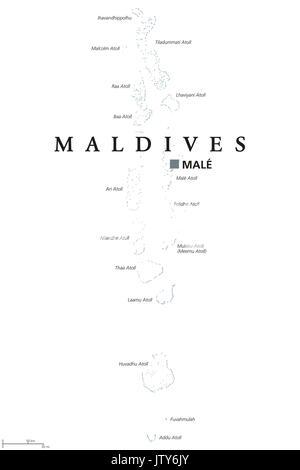 malediven politische karte mit hauptstadt male auf kings island und wichtige st dte republik. Black Bedroom Furniture Sets. Home Design Ideas