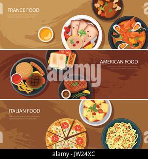 Satz von Essen Web Banner flache Bauform. Frankreich Essen, American Food, italienisches Essen - Stockfoto