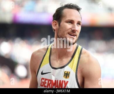 London, Großbritannien. 11 Aug, 2017. Deutsche Zehnkämpfer Kai Kazmirek in Aktion an der 100m an die IAAF Weltmeisterschaften, - Stockfoto