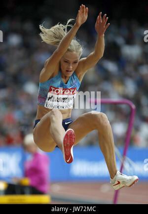 London, Großbritannien. 11 Aug, 2017. Russisch Daria Klishina konkurriert an den Weitsprung finale Während der Leichtathletik - Stockfoto