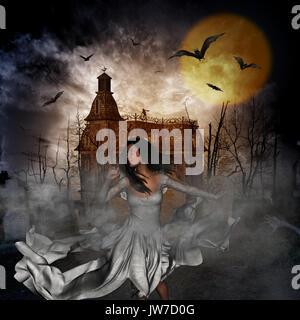 3D-Darstellung eines halloween Konzept Hintergrund mit Frau runaway von Dark Castle und im Friedhof verloren - Stockfoto