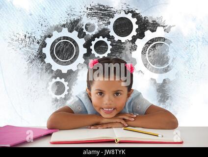 Digital composite der Schülerin an Schreibtisch mit Einstellungen Zahnräder Zahnräder - Stockfoto