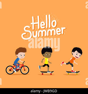 Drei Jungen, Skateboards und ein Fahrrad. Cute cartoon Hallo Abbildung Sommer. - Stockfoto